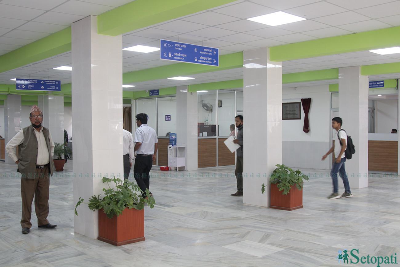 नेपाल आँखा अस्पतालको भुइँ तला। तस्बिरः निशा भण्डारी/सेतोपाटी