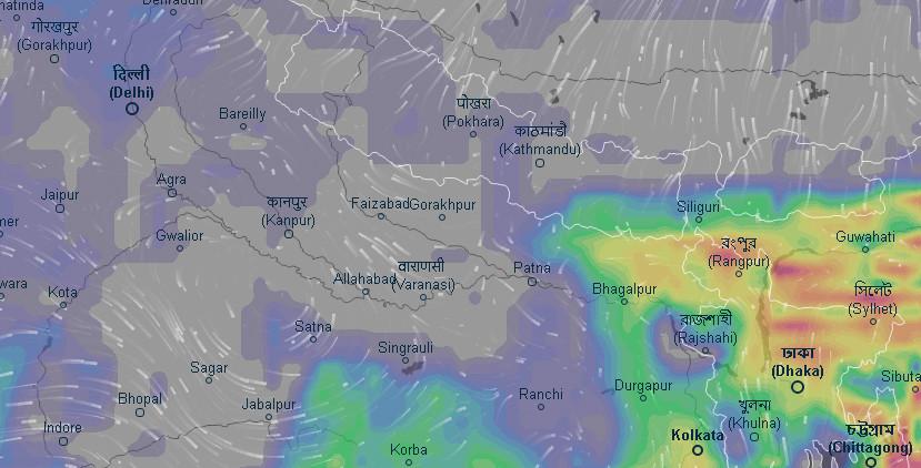 बल्ल नेपाल पस्यो मनसुन, झापा मोरङसहित पूर्वी नेपालीमा वर्षा