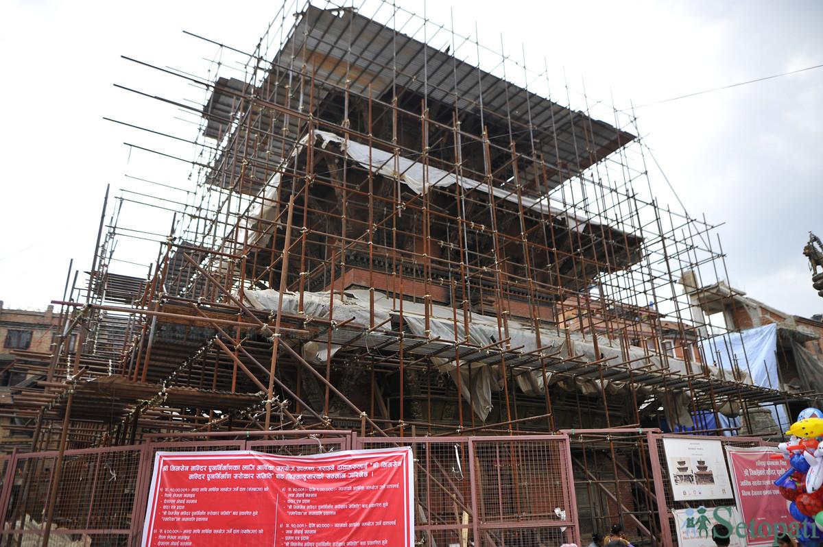 भीमसेन मन्दिर पुनर्निर्माण हुँदै। तस्बिरः नारायण महर्जन/सेतोपाटी