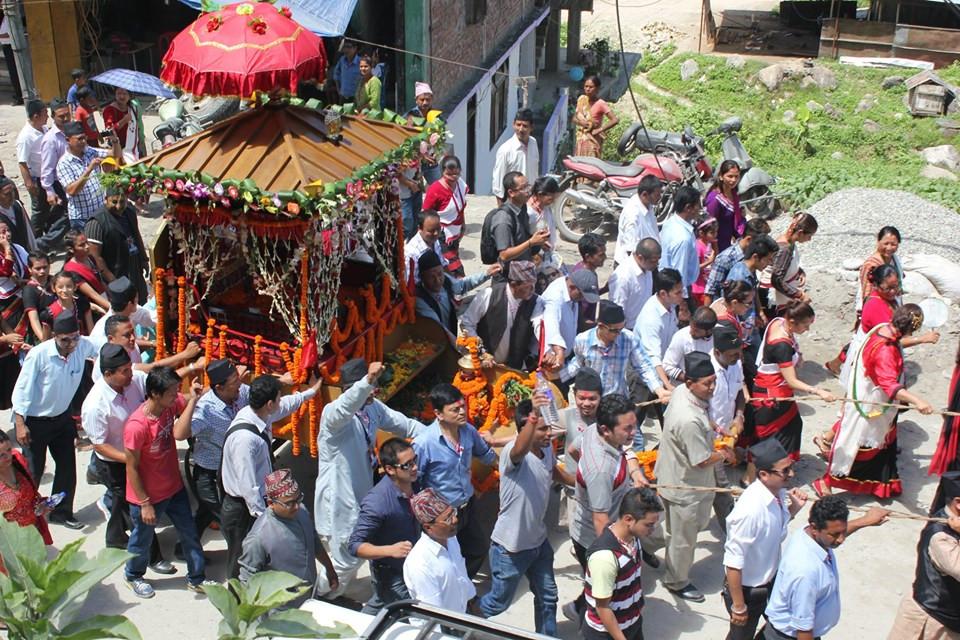 सिक्किममा इन्द्रजात्रा मनाइँदै। तस्बिरः सिक्किम नेवार गुठी युथ अफेयर्स