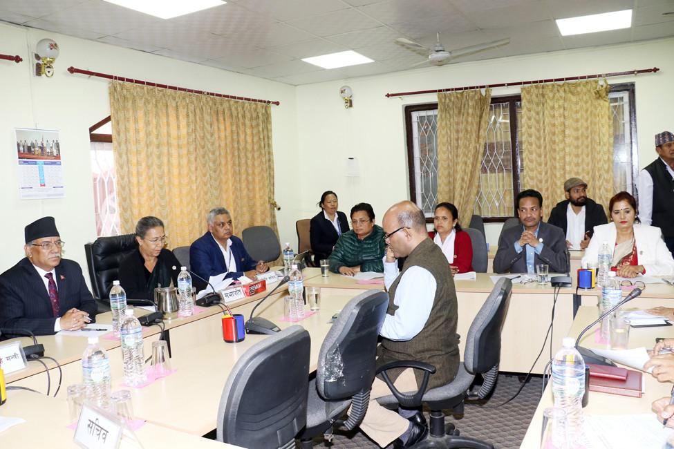 सोमबार बसेको राज्य व्यवस्था समितिको बैठक आफ्नो धारणा राख्दै कांग्रेस सांसद अमरेशकुमार सिंह। तस्बिर: रासस।