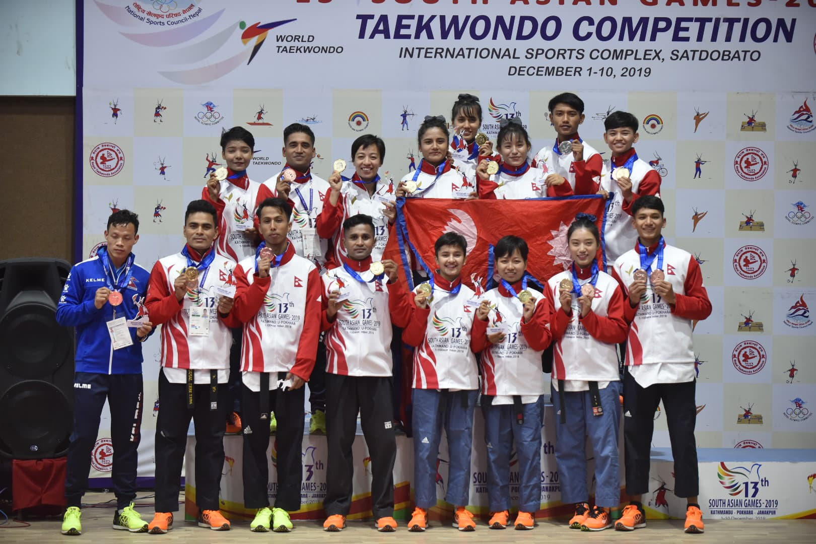 तेक्वान्दोका स्वर्ण विजेता खेलाडीहरू ।