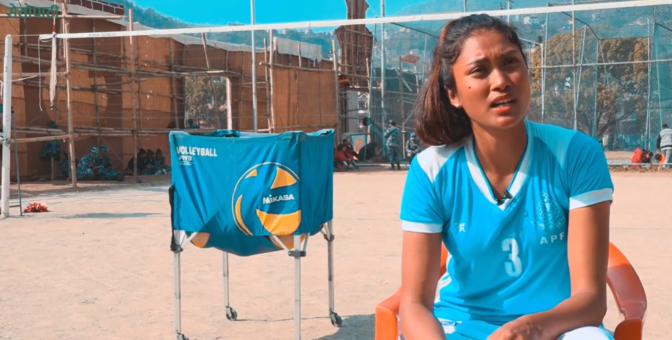 राष्ट्रिय भलिबल खेलाडी सरस्वती चौधरी।