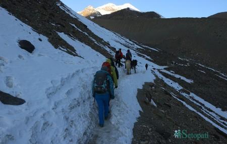 थोराङपास गर्नेक्रममा हाइक्याम्पबाट उकालो चढ्दै गरेका पर्यटकहरू। तस्बिरः रमेश