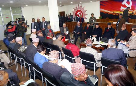 गत वर्ष पुसमा बसेको नेकपा स्थायी समिति बैठक।  फाइल तस्बिर।