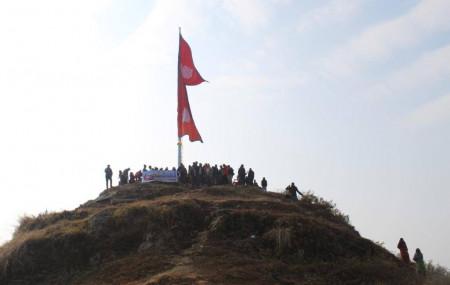 लिगलिगकोटमा राखिएको झण्डा। तस्वीर: पालुङटार नगरपालिका