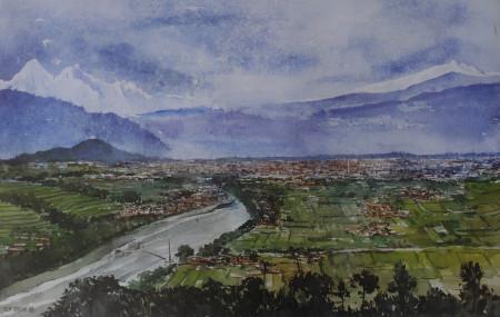चोभारबाट देखिने बागमती र काठमाडौं- १९८८। चित्र: आरएन जोशी, सौजन्य: आरएन जोशी म्युजियम।