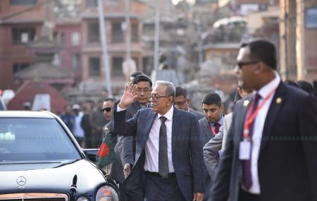 भक्तपुर दरबार स्क्वायरमा बंगलादेशी राष्ट्रपति  अब्दुल हमिद। तस्बिर : नारायण महर्जन/सेतोपाटी