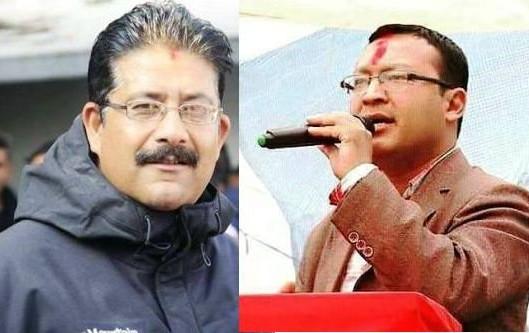 नेपाल तरूण दलका सभापति  जीतजंग बस्नेत (बायाँ) र महासचिव भूपेन्द्रजंग शाही(दायाँ)।